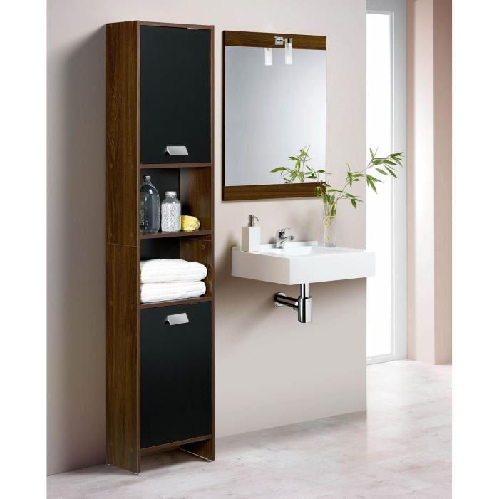 [Cdiscount à volonté] Colonne de salle de bain Top - 39cm, Décor wengé et noir