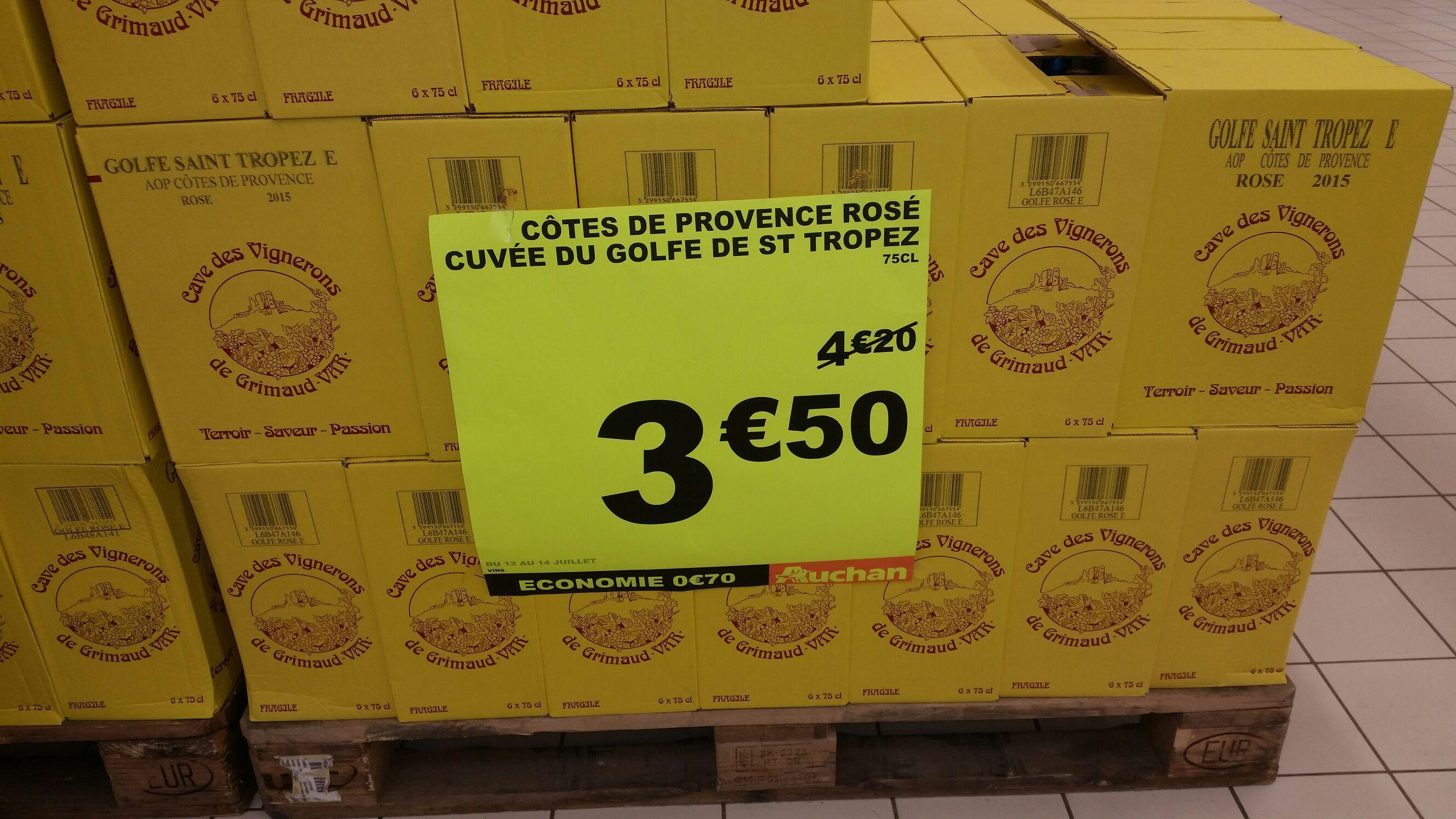 Vin rosé côté de Provence Cuvée du Golfe de St Tropez 75 cl