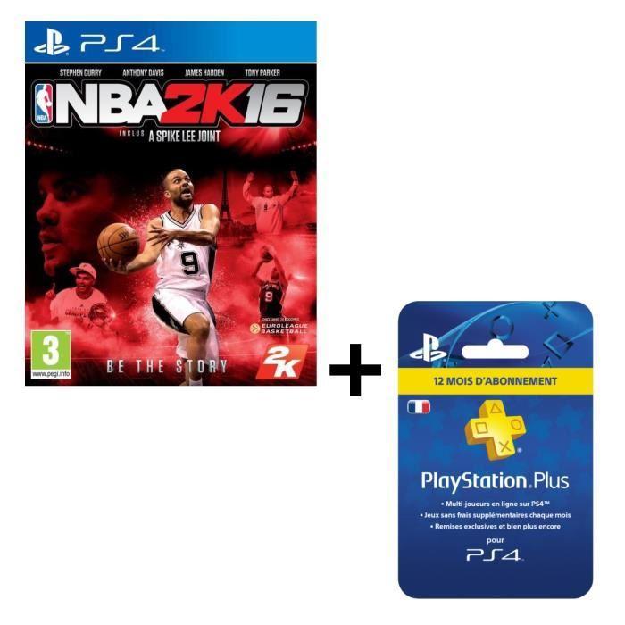 Pack NBA 2K16 sur PS4 + abonnement PS Plus d'un an