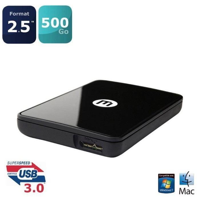 """Disque dur externe Memup Kiosk LS mini 500 Go 2,5"""" USB 3.0 Noir"""