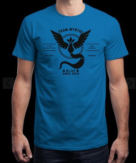 Tee-shirt Pokémon Go - bleu, jaune / noir ou rouge