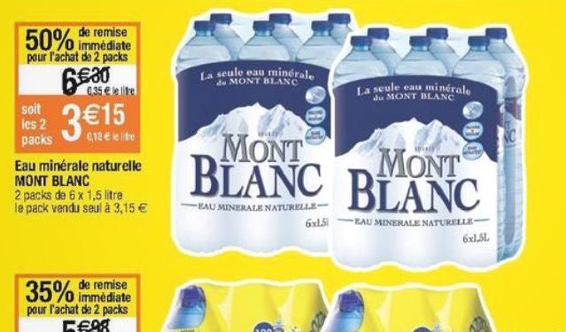Lot de 2 Packs d''Eau Minérale Naturelle Mont Blanc - 12 x 1,5L (Via BDR)