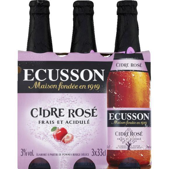 2 Packs de 3 bouteilles de Cidre Écusson Rosé, Cerise ou pêche 33cl