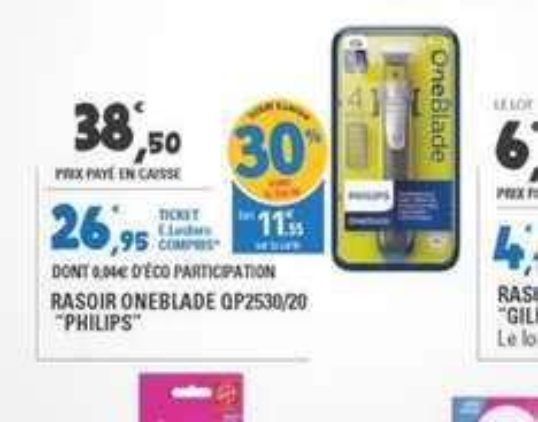 Rasoir électrique Philips Oneblade + 4 sabots (avec 11.55€ en Ticket E.Leclerc)