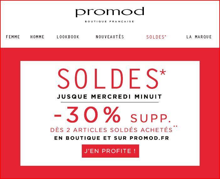 30% de remise supplémentaire dès 2 articles soldés achetés en magasin ou sur le site