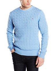 Pull Gant Cotton Cable Crew Neck pour Hommes - Bleu clair, Taille XXL