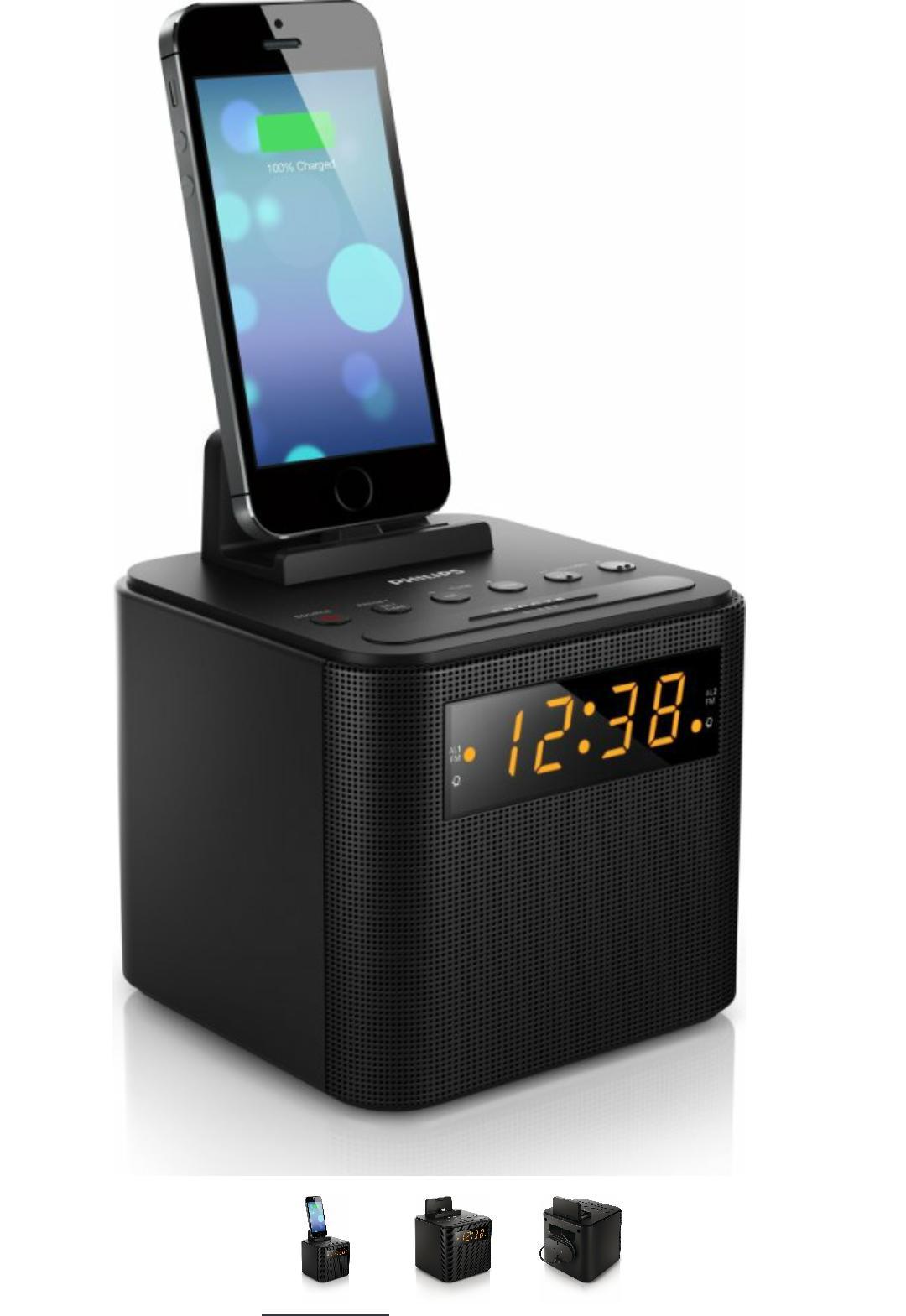 Radio réveil station d'accueil Philips AJ3200 - Tuner FM, Double Alarme, Batterie de Secours, Noir et Blanc