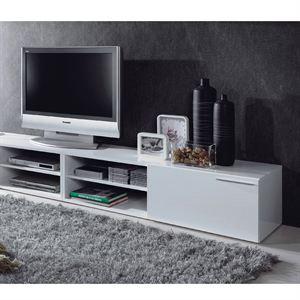 KIKUA Meuble TV 130cm Blanc Brillant