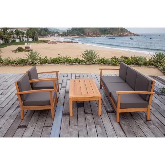 Salon de jardin 5 places en bois eucalyptus Finlandek Levätä