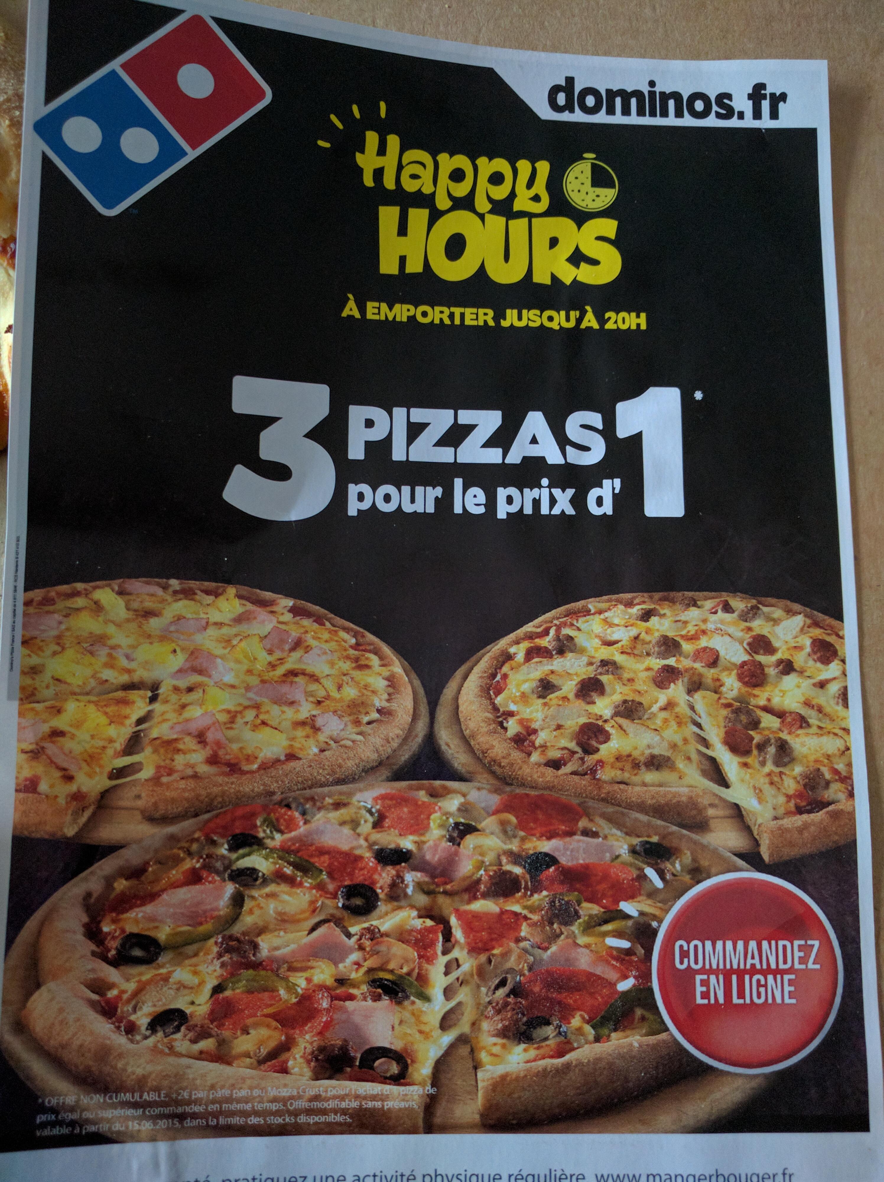 3 Pizzas pour le prix d'1