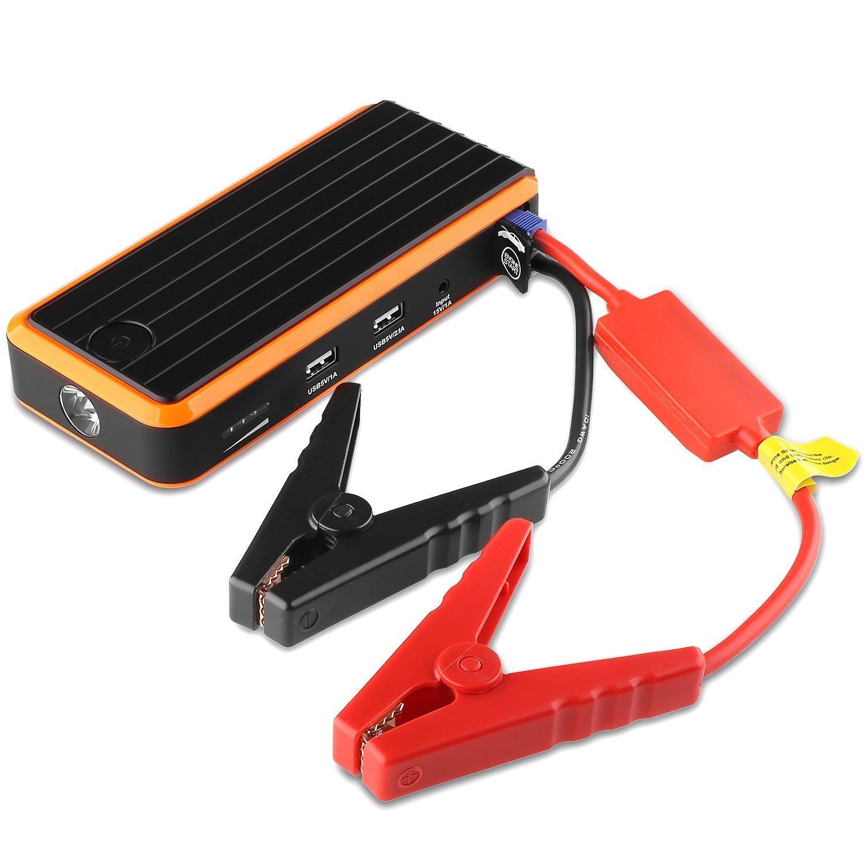 Booster de Démarrage de Voiture Aukey 12000 mAh - Batterie Externe avec Adaptateur, Smart Pinces, Lampe de poche LED (12V, 400A)