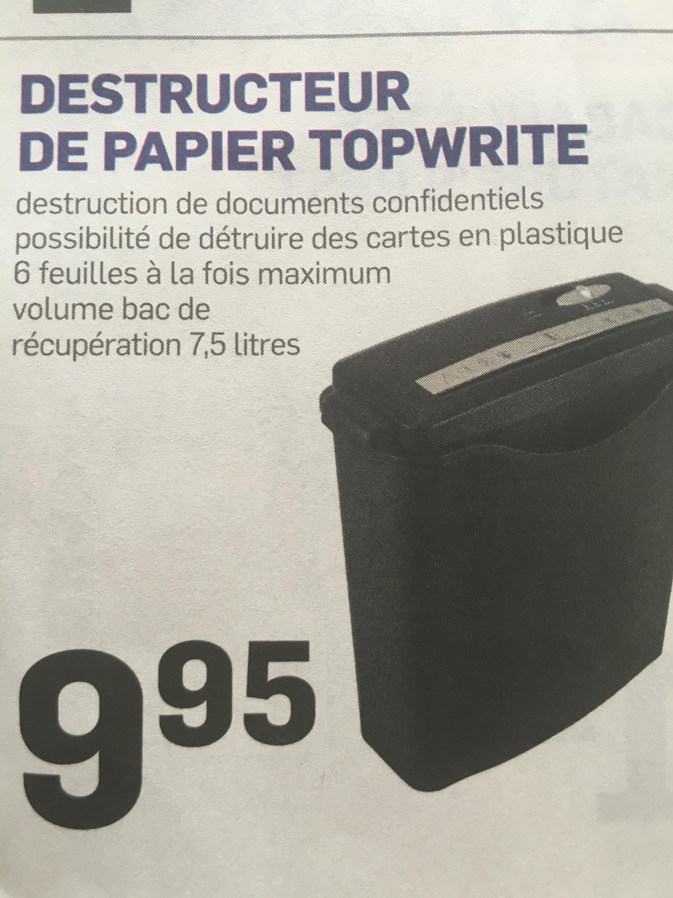 Destructeur de papier 7,5 litres