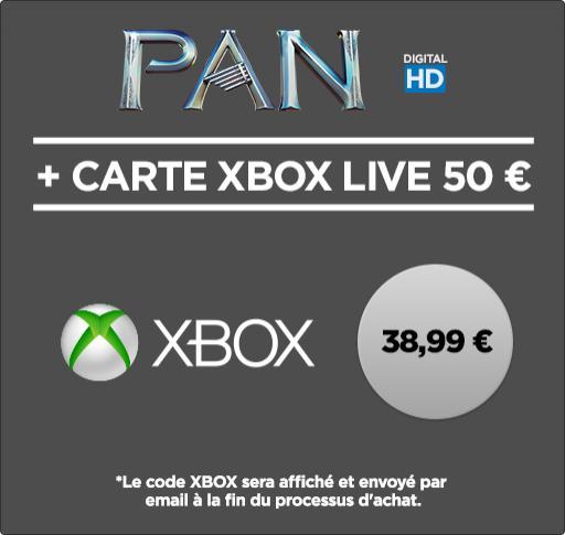 Carte Xbox Live de 50 € + Pan en HD