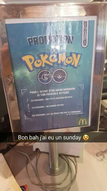 [Sous conditions] Une petite Boisson ou un Sunday offert ou 20% de réduction sur la commande pour l'achat d'un menu Pokémon