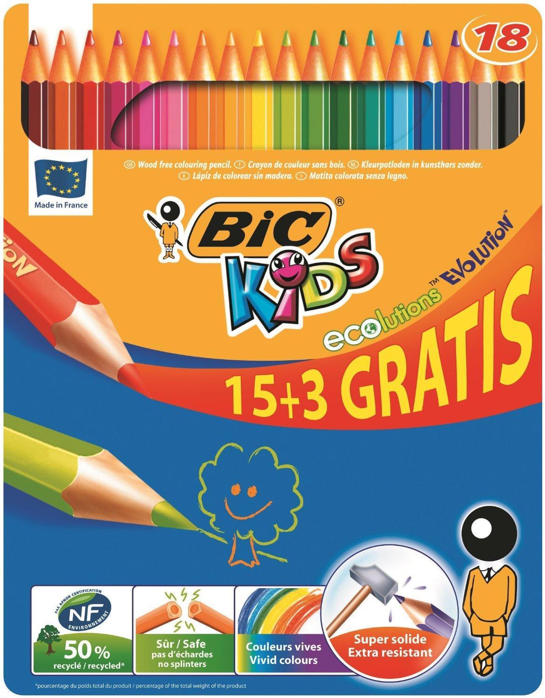 [Panier Plus] Boîte métal de 18 Crayons de couleur Bic Kids Ecolution Evolution