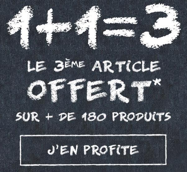 2 articles achetés, le 3ème offert sur une sélection d'article (+ cashback de 10% via Shoop)