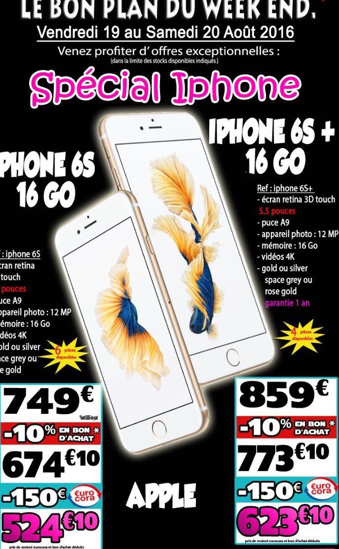 """Smartphone 4.7"""" Apple iPhone 6S - 16 Go (via 10% en bon d'achat et 150€ sur la carte)"""