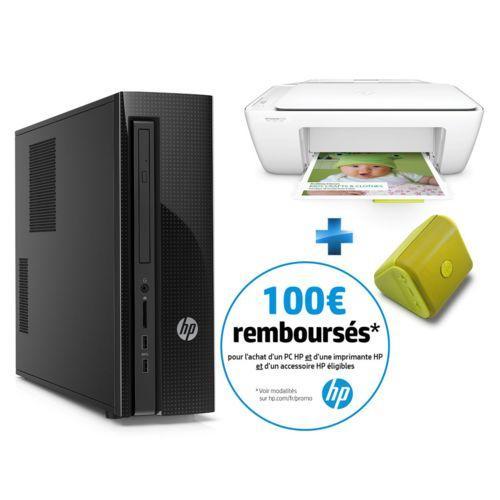 Pc de bureau HP Slimline 450-101nf (i3-4170, 4 Go RAM, 1 To HDD, Windows 10) + Imprimante DeskJet 2130 + Mini enceinte Bluetooth Roar (via ODR 100€)