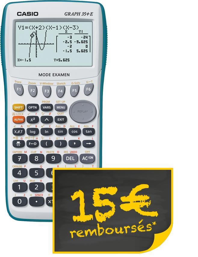 Calculatrice Casio Graph 35+E (via ODR + 34€ en bon d'achat)
