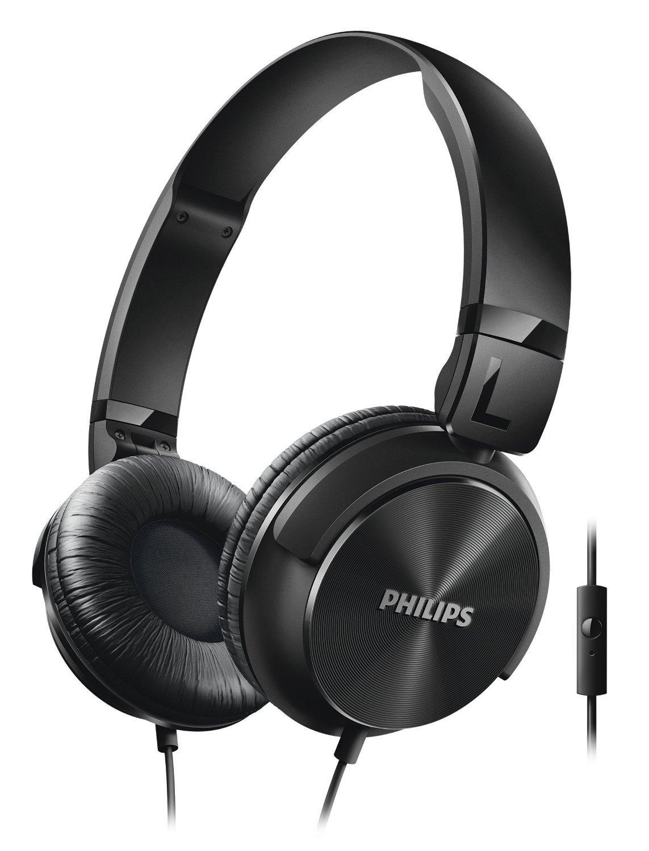 Casque audio pliable Philips SHL3065BK/00 avec microphone et télécommande intégrée - Noir