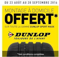 Montage à domicile offert pour l'achat de 2 ou 4 pneus Dunlop Sport Maxx