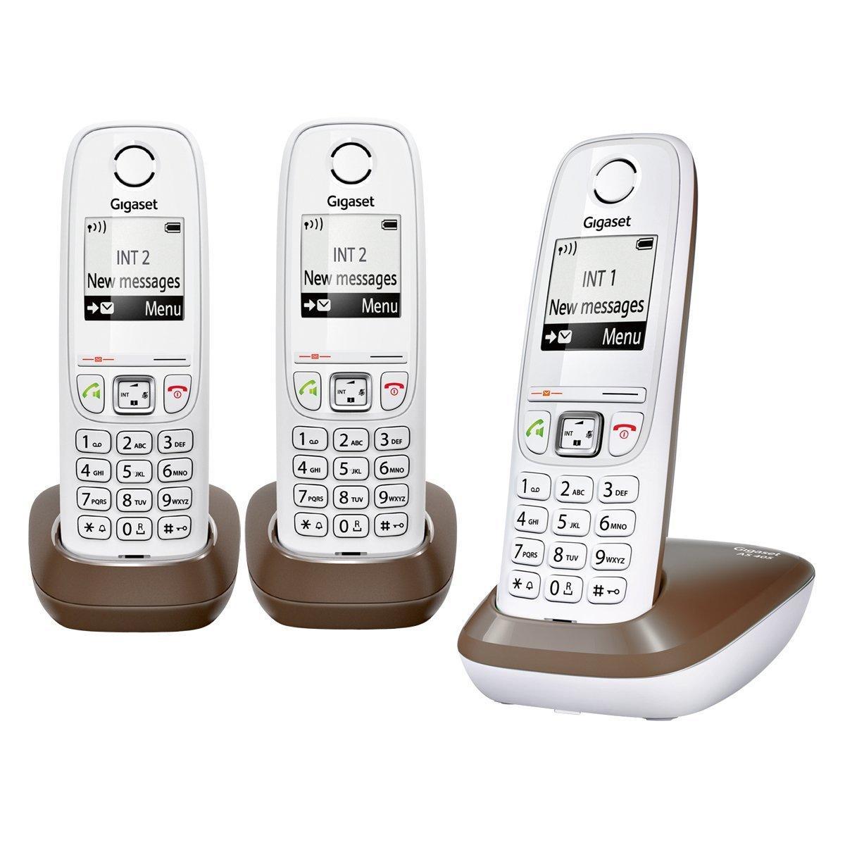 Lot de 3 téléphones fixes Gigaset AS405 Trio - blanc / chocolat