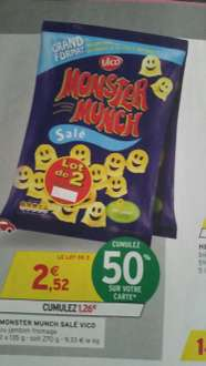 Lot de 2 paquets de Monster Munch grand format - 135g (via 1.26€ sur la carte)