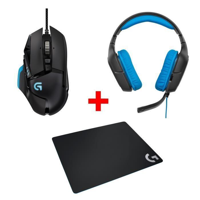 [Cdiscount à Volonté] Pack Gaming Logitech :  Souris G502 Proteus Spectrum RGB + Micro Casque G430 PC/PS4 + Tapis de souris G240