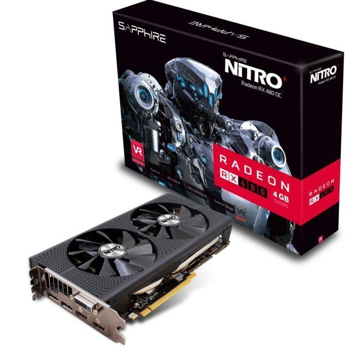 Carte Graphique Sapphire AMD Nitro + Radeon RX 480 - 4Go, GDDR5 (0 dB)