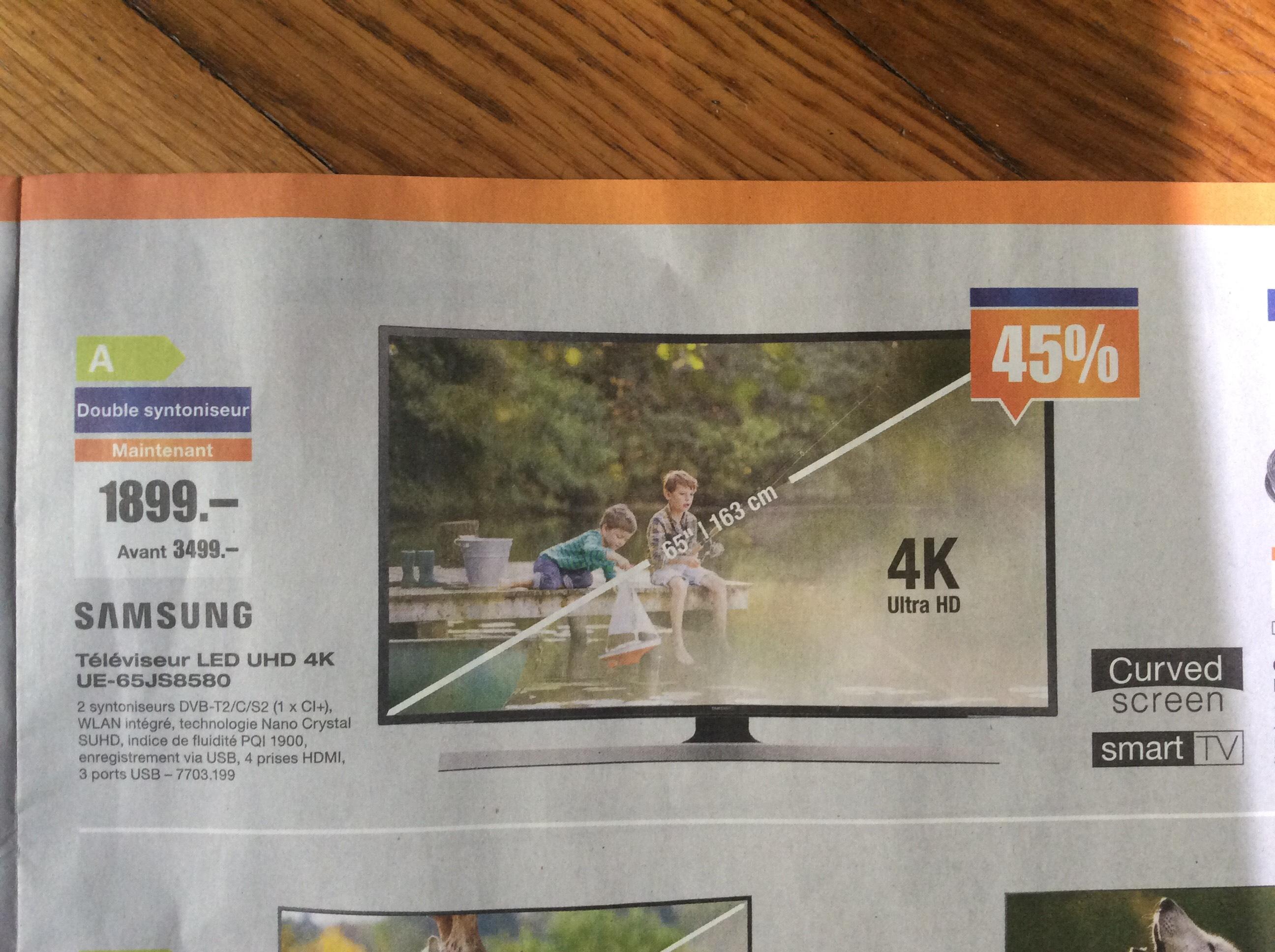 """TV Incurvée LED 65"""" Samsung UE65JS8580/SUHD 4K + 328€ en bons d'achat"""