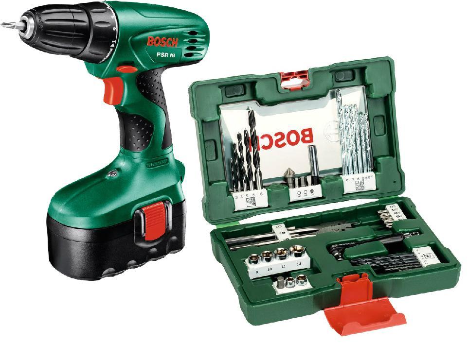 Perceuse Sans Fil Bosch - 18V, 2 Batteries Nicd + Coffret V-Line 41 Pièces