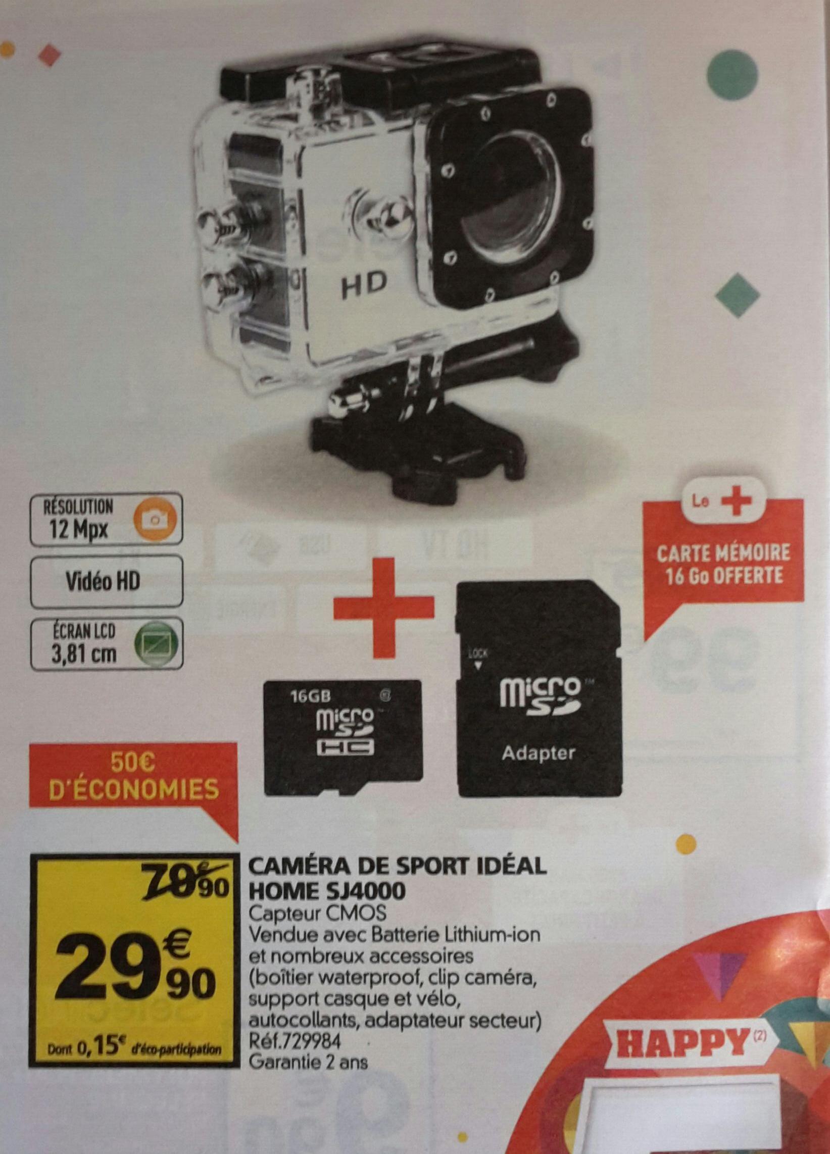 Caméra sportive Idéal Home SJ4000 + Carte micro SDHC 16 Go
