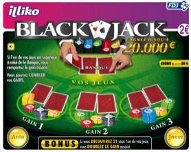 Ticket de grattage illiko Black Jack (via Shopmium)