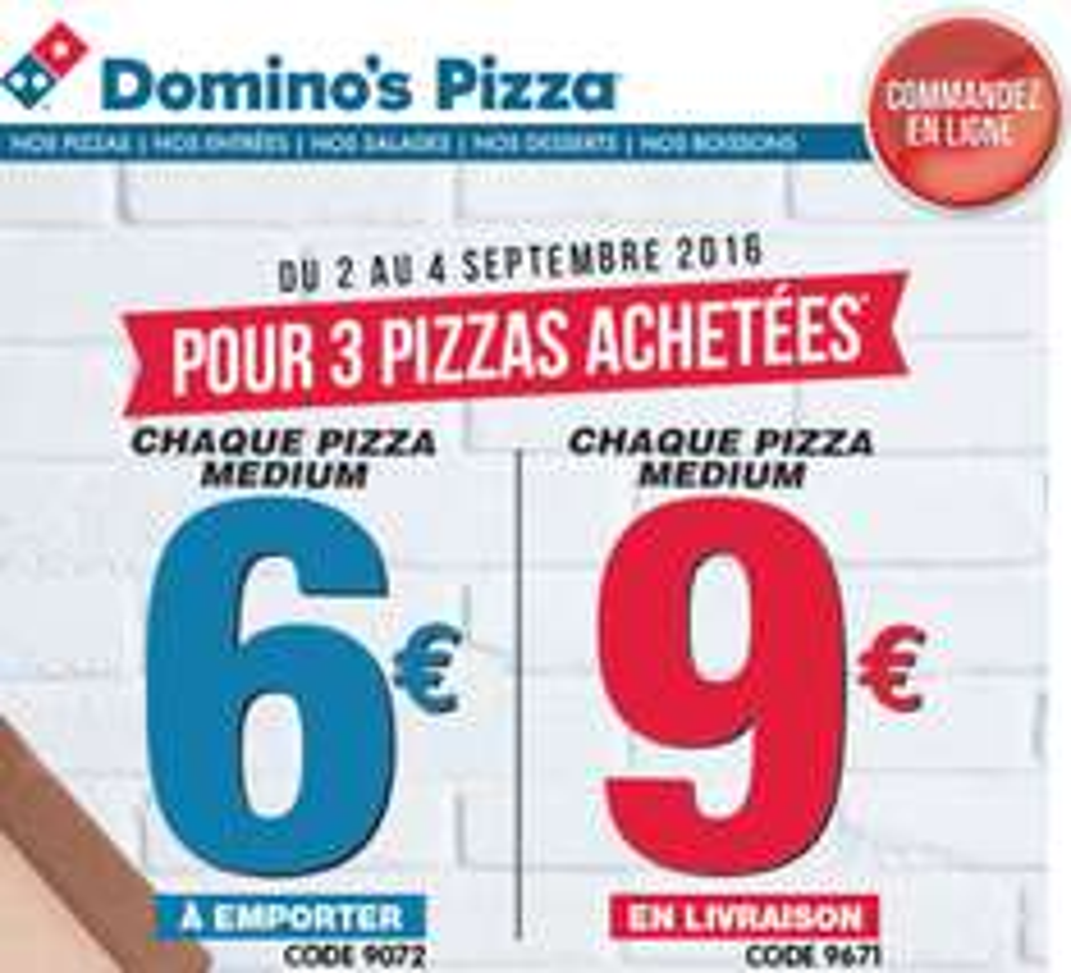 3 Pizza médium en livraison à 27€ et à emporter