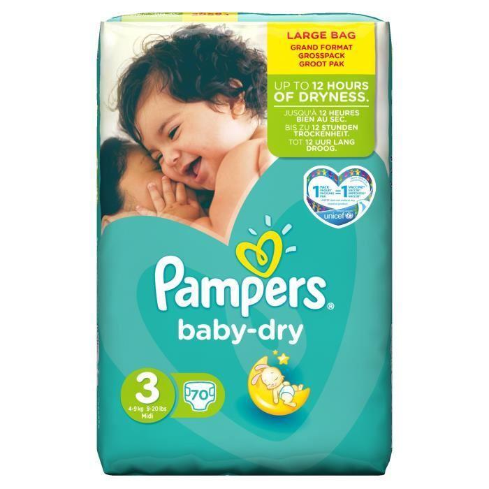 Paquet de 70 couches Pampers Baby-Dry - différentes tailles- Ex : taille 3 (via 9.25€ sur la carte fidélité + BDR)