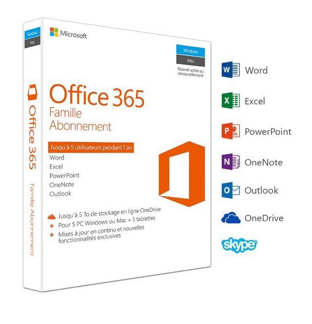 Abonnement 1 an Office 365 Famille 5 PC Windows/Mac + 5 tablettes
