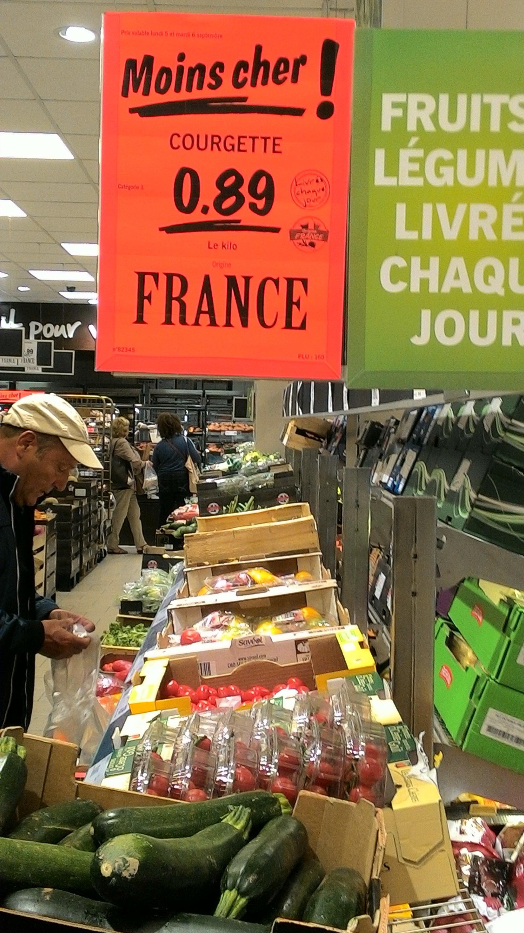 Le kilo de Courgette origine France