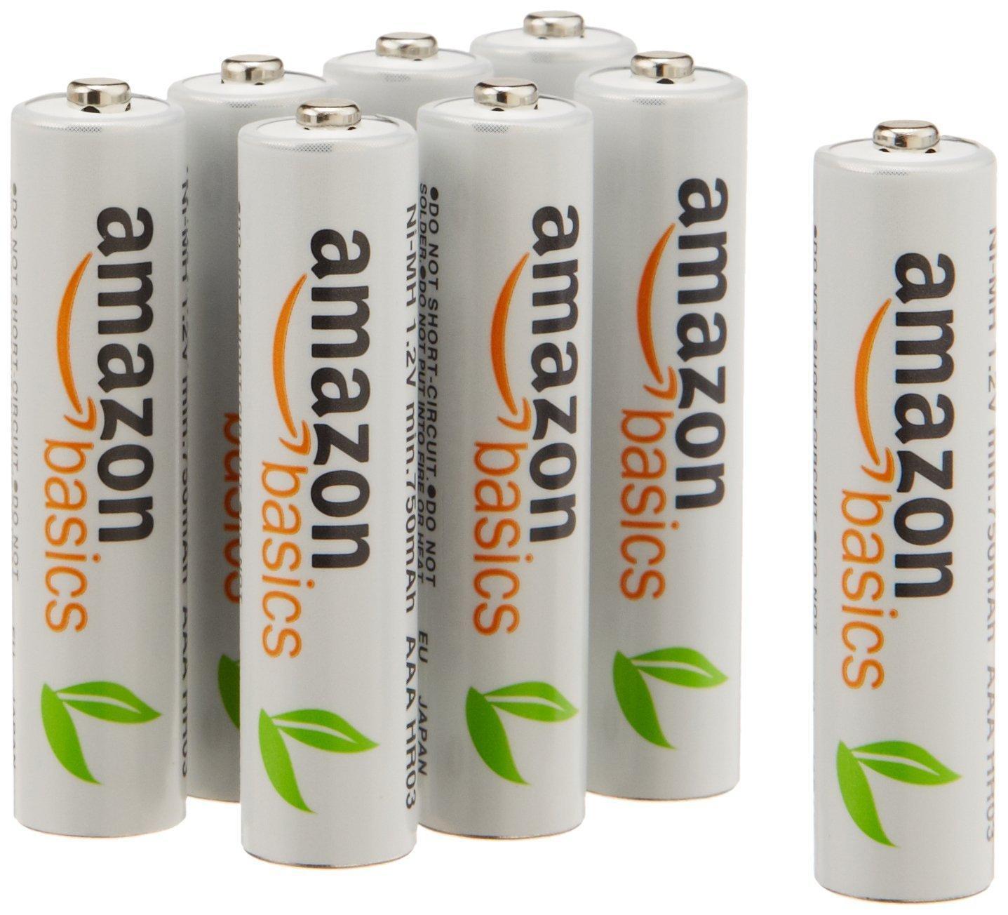Lot de 8 piles rechargeables AAA AmazonBasics Ni-MH (750 mAh)