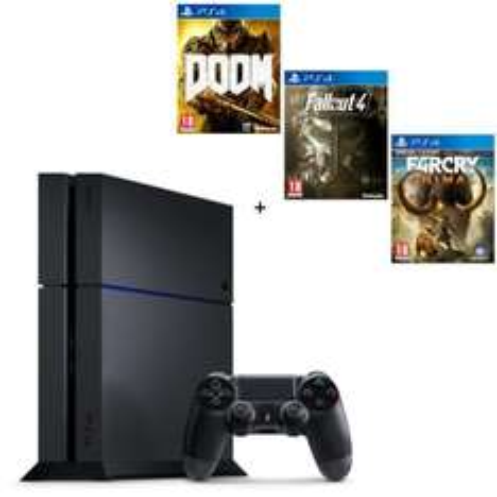 Console PS4 500Go + Doom + Fallout 4 + Farcry Primal Edition Spéciale
