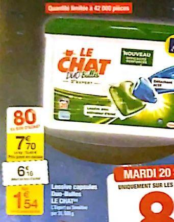 Sélection d'offres 80% Carrefour semaine 3 - Ex : Lessive capsules Le Chat Duo bulles (via 6.16€ fidélité)