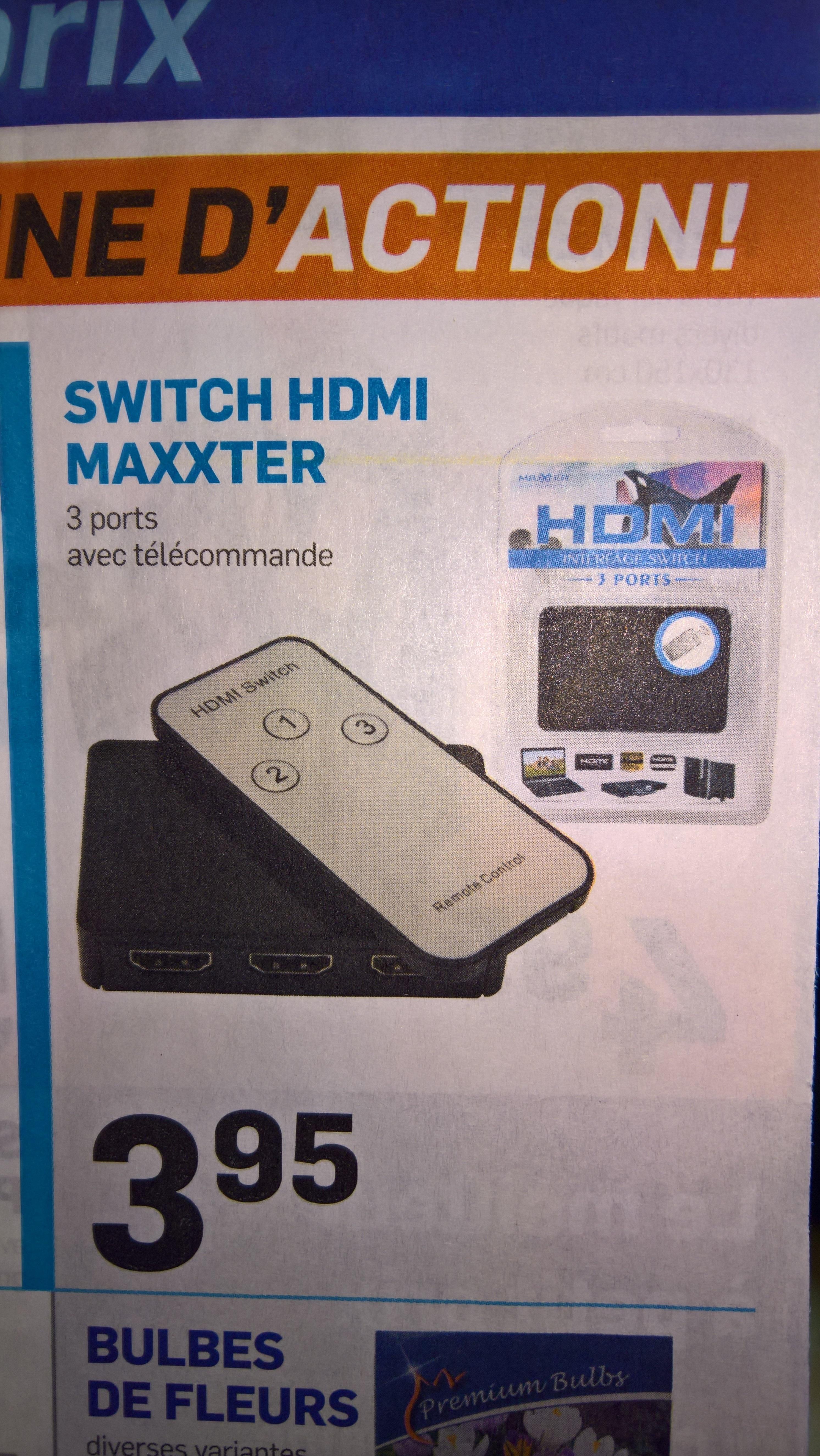 Switch HDMI Maxxter (3 ports, avec télécommande)