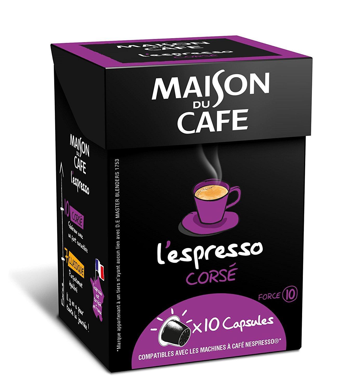 Lot de 80 Capsules Maison du Café L'Espresso Corsé - Compatibles Nespresso