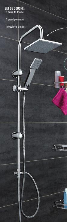 Set de douche (barre + grand pommeau + douchette à main)