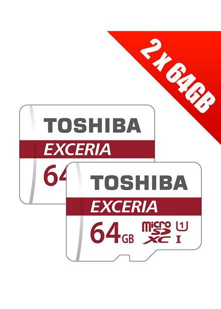 Lot de 2 microSDXC Toshiba Excoria M301 Class 10 - 64 Go