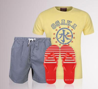 Kit spécial plage - T-shirt ou polo + short de bain + tongs