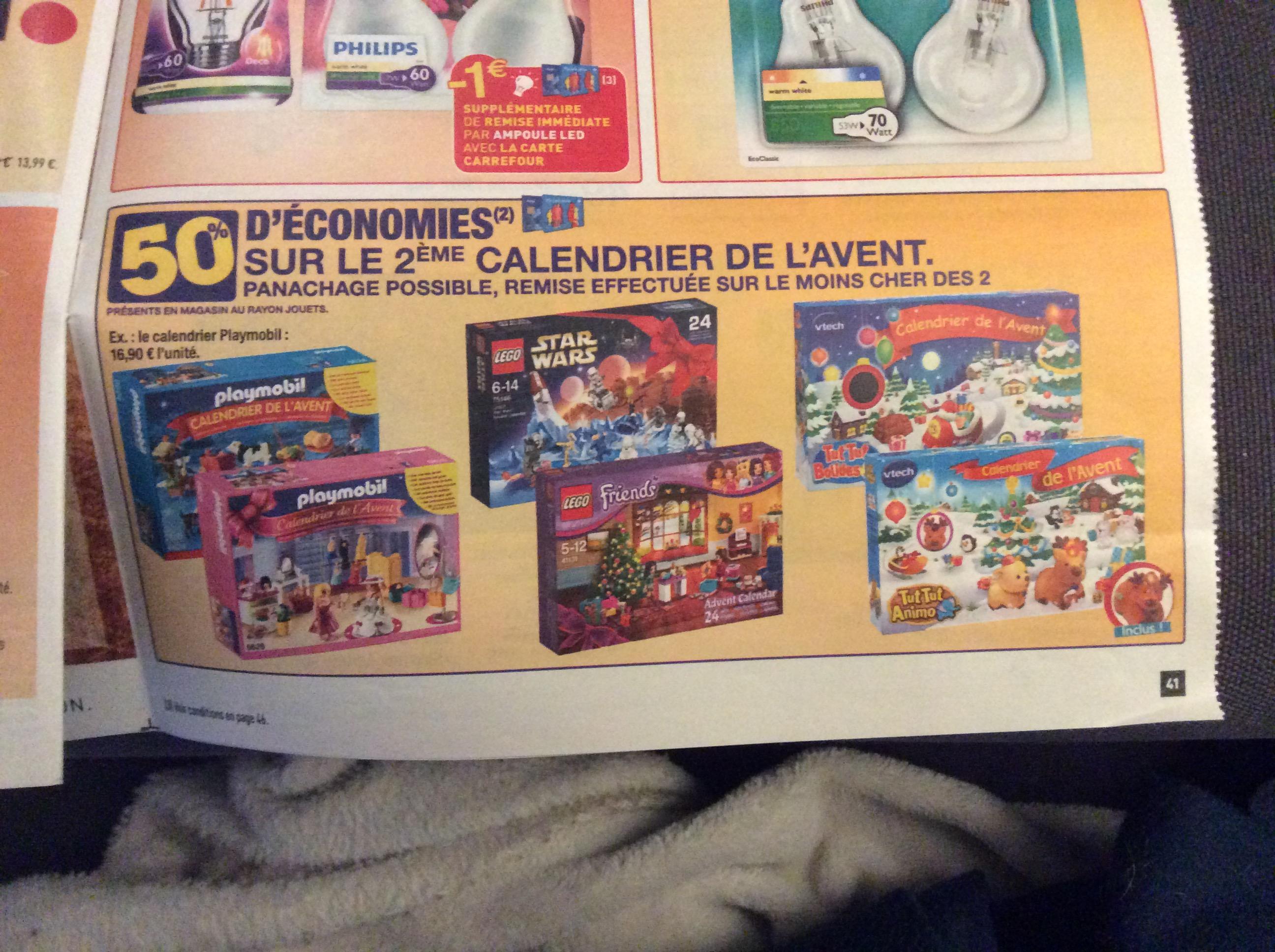50% de réduction sur le 2eme calendrier de l'avent - Ex : 2 Calendriers de l'avent Playmobil