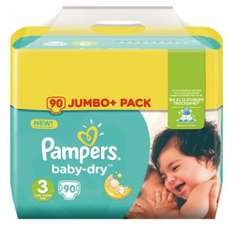 Pack de Couches Pampers Jumbo Baby Dry (via 12.95€ sur la carte et 2€ sur Quoty)