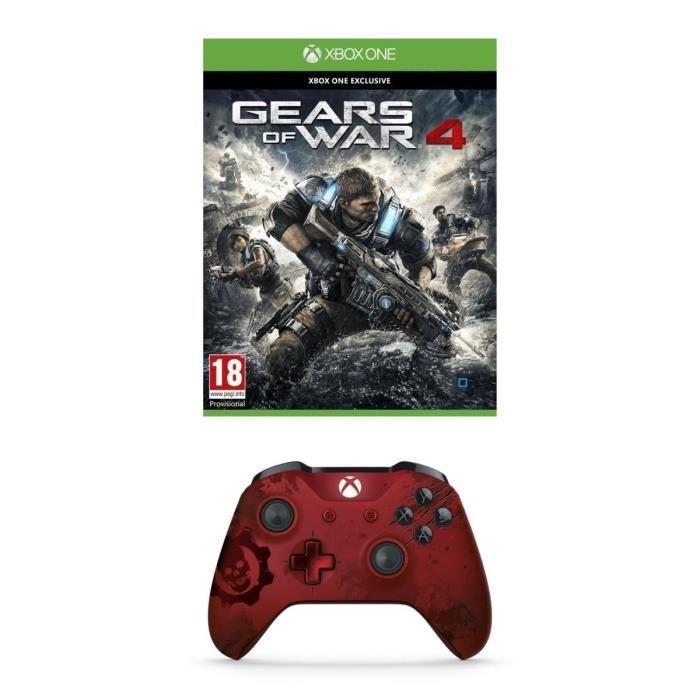 Manette Xbox One S Édition Limitée Crimson Omen + Gears Of War 4