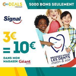 Bon d'achat de 10€ valable en magasin Géant Casino sur tous les produits de la marque Signal