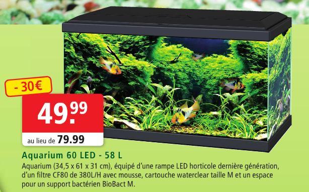 Aquarium complet 60 LED - 58L